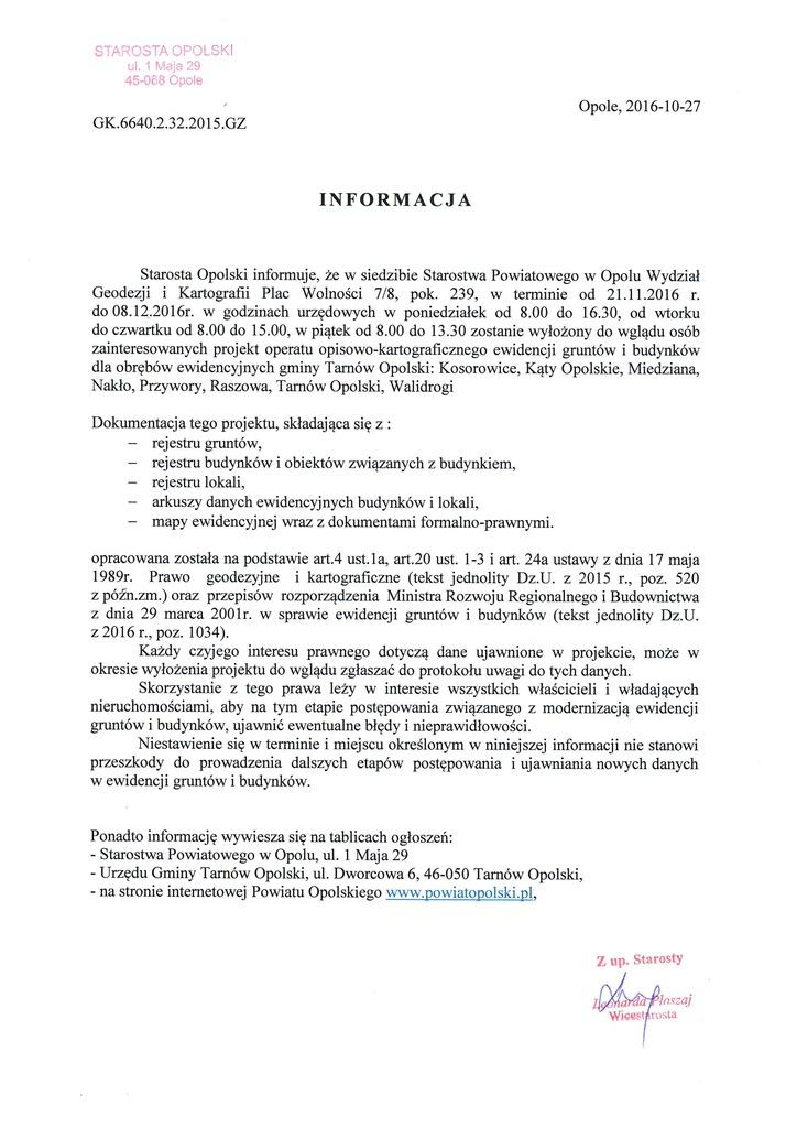 Informacja Starosty Opolskiego z dnia 27.10.2016 o wyłożeniu projektu operatu opisowo-kartograficznego ewidencji gruntów i budynków.jpeg