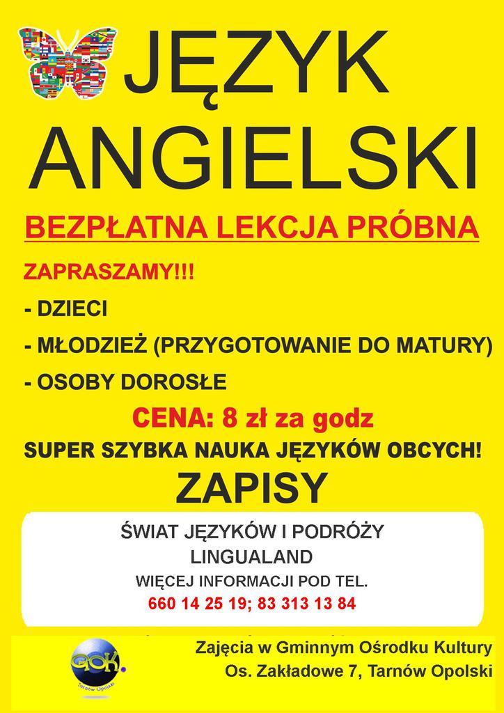 Zajęcia Nauki Języka Angielskiego W Gok U Gmina Tarnów Opolski
