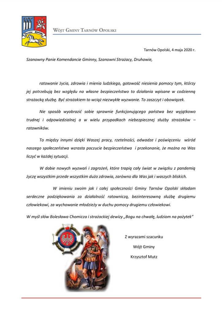 Życzenia Wójta Gminy Tarnów Opolski z okazji Dnia Strażaka.jpeg